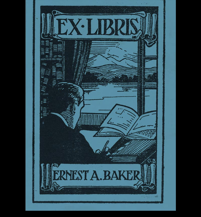 Bookplate of Dr Ernest A Baker, ex Libris