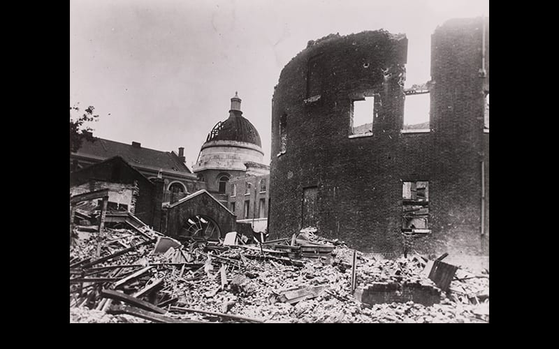 Bomb damage to college buildings, from South East