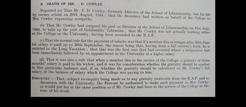 Death of  Mr J.D. Cowley